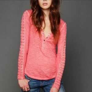Free People Shell Stitch Long Sleeve Henley Coral